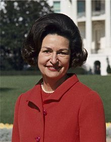 """Claudia Alta""""Lady Bird""""Taylor Johnson(December 22,1912 -July 11, 2007)was First Lady of the U S(1963-69)during the presidency of her husband Lyndon B. Johnson.As First Lady, she broke new ground by interacting directly with Congress, employing her own press secretary, and making a solo electioneering tour.Johnson was a lifelong advocate for beautifying the nation's cities and highways (""""Where flowers bloom, so does hope"""")The couple had two daughters"""