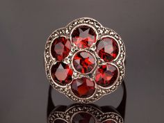 Silver Garnet Ring with Marcasite. 1920s by BelmontandBellamy