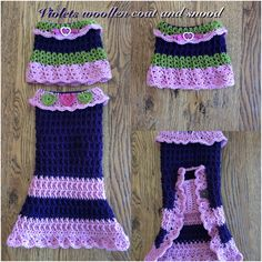 Dachshund crochet coats and snoods made by Buttercup Crochet Designs