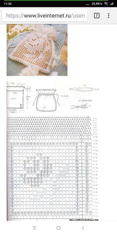 Crochet Sachet, Crochet Pouch, Crochet Lace Edging, Crochet Flower Patterns, Crochet Blouse, Thread Crochet, Filet Crochet, Crochet Gifts, Crochet Designs