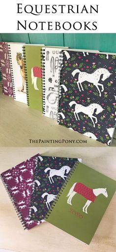horse lover spiral notebooks - so CUTE! love the equestrian patterns and artwork printed on the cover of these beautiful little notebooks. Whimsical pony themed school supplies for the horse lover pony rider. Hunter jumper and equitation inspired.