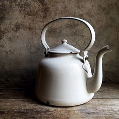 French Vintage White Enamelware Kettle. Large by LaClariere