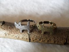 Markdown Sale - Hot 2PCS Silver And Bronze Tone Metal Cute Cat Ring -- Friendship Couple Lover Retro Finger Rings. $3.49, via Etsy.