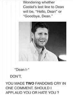 Two fandoms..? Supernatural and..?
