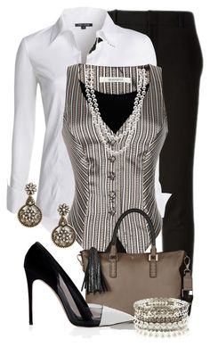 A fashion look from May 2015 featuring NIC+ZOE blouses, Rodarte vests i Gucci pants. Browse and shop related looks. Business Casual Outfits, Business Fashion, Classy Outfits, Chic Outfits, Fashion Outfits, Work Fashion, Fashion Looks, Up Girl, Work Attire