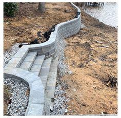 Sloped Backyard Landscaping, Backyard Retaining Walls, Sloped Garden, Backyard Patio Designs, Retaining Wall With Steps, Landscaping Ideas, Retaining Wall Drainage, Retaining Wall Design, House Landscape