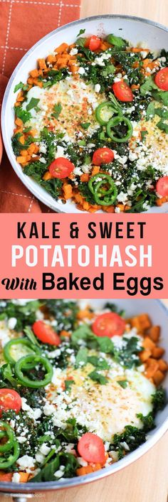 This Sweet And Savory Kale and Sweet Potato Hash With Baked Eggs Is A High-Protein Gluten Free Meal That Is Full Of Robust Flavor Delicious Comfortness. Solid Breakfast Healthy Recipes Gluten Free Breakfast Brunch Ideas Via Healthy Breakfast Casserole, Egg Recipes For Breakfast, Free Breakfast, Brunch Recipes, Breakfast Ideas, Eat Breakfast, Brunch Ideas, Dinner Recipes, Breakfast Specials