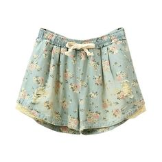 Rippled Denim Shorts with Lace and Floral ($21) ❤ liked on Polyvore featuring shorts, bottoms, pants, short, floral printed shorts, flower print shorts, short jean shorts, denim short shorts and lacy shorts