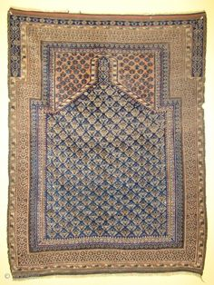 Baluch Prayer Rug. Textile like handle. All original with light purple, Ivory, 2 Blues, Brown, Peach. 40x53 inches 102x135 Cm.