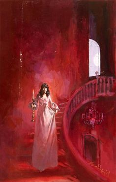 .Gothic red winding staircase with frightened woman wearing a nightdress descending with a candle to light her way.
