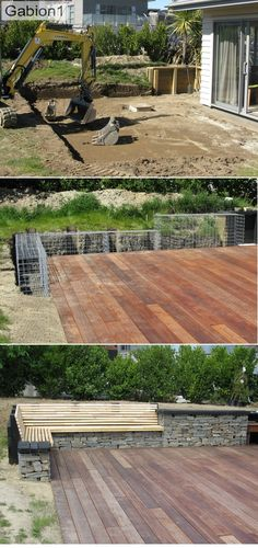 gabion seating deck - All For Garden Fire Pit Backyard, Backyard Patio, Backyard Landscaping, Back Gardens, Outdoor Gardens, Patio Design, Garden Design, Gabion Baskets, Patio Plans