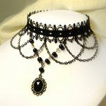 Wholesale Gothic Long Tassels and Beads Design Women's Lace Flower Necklace (BLACK), Necklaces - Rosewholesale.com