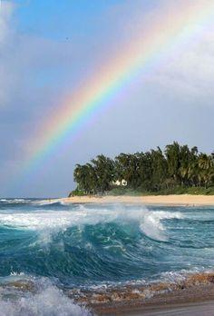 Rainbow over sunset beach