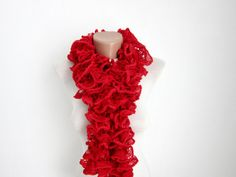 Red Knit Scarf Fall Fashion Frilly scarf Ruffled Scarf by nurlu Fall Scarves, Red Scarves, Neck Accessories, Accessories Shop, What Should I Wear, Ruffle Scarf, Red Velvet, Autumn Fashion, Knitting