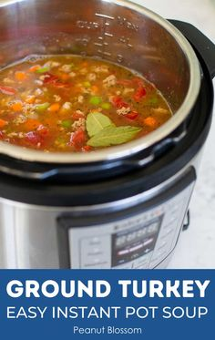 This healthy turkey soup cooks quickly in an Instant Pot for an easy quick dinner. Serve with fresh bread for a comforting family meal on a busy night. Tomatoes, carrots, and celery add tons of flavor while keeping things light. Turkey Rice Soup, Ground Turkey Soup, Dinner In An Instant, Instant Pot, New Pressure Cooker, Cooking Spoon, Quick Easy Dinner, Cooking Turkey, Recipes For Beginners