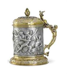 ❤ - A GERMAN PARCEL-GILT SILVER TANKARD   PROBABLY HAMBURG, CIRCA 1660, MAKER'S MARK EH