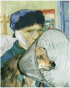 """Classic art """"improved"""" with dogs Van Gough, Self-Portrait-with-Coned-Dog"""