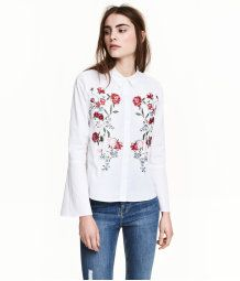 Shirt with Flared Sleeves | White/embroidered | Women | H&M US