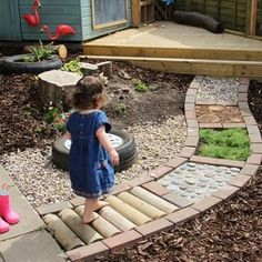Sensory garden path--great idea for toddlers. - Sensory garden path–great idea for toddlers. Kids Outdoor Play, Outdoor Play Spaces, Outdoor Learning, Backyard For Kids, Garden Kids, Diy Garden, Small Garden Ideas For Toddlers, Gardens For Kids, Childrens Play Area Garden