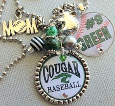 PERSONALIZED Baseball Mom Necklace, Sports Number, Team Colors Charm Necklace - Team Logo, Cougars, Mascot, Knights, Warriors, Tigers