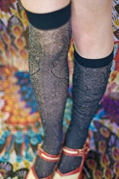 A good look at the front of Ozone's Lacey Lace Up Knee Socks - I adore these swirls and curlycues. Probably my favorite thing about these socks, though it's a bit more subtle than the lacing up the back. UPDATE: we regret to inform you that this style has been discontinued and is no longer available.