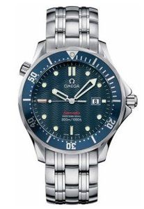 "Omega Men's 2221.80.00 Seamaster 300M Quartz ""James Bond"" Blue Dial Watch Omega. $2300.00. Water-resistant to 300 M (1000 feet). Case diameter: 41 mm. Precise Swiss-Quartz movement. Domed, anti-reflective scratch-resistant sapphire crystal. Stainless-steel case; Blue dial; Date function"