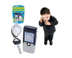 Lets Go Set: Gray Play Cell Phone and Grey Car Key Alarm by Toysmith. $8.29. For the little one on the go! This fun set includes a play phone and car remote with key. Both make sounds and tones when their buttons are pressed. Great gift for boy. Color: silver/black.  Made by Toysmith.