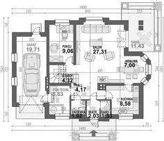 Projekt domu Śnieżka N 129,49 m2 - koszt budowy 220 tys. zł - EXTRADOM New Home Construction, Architecture Design, House Plans, New Homes, Floor Plans, How To Plan, House Ideas, Houses, Two Story Houses