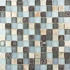 Kitchen Bathroom Beige Black Deco Stone and Green Blue Glass Mosaic Tile | eBay