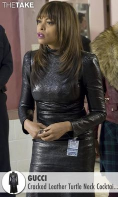 Gucci Cracked Leather Turtle Neck Cocktail Dress as seen on Cookie Lyon in Empire   TheTake.com