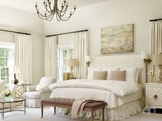 Ivory bedroom with ivory walls, ivory tufted headboard and ivory bedding. IvoryBedroom Jessica Bradley Interiors - A Interior Design Master Bedroom Interior, Home Bedroom, Bedroom Ideas, Bedroom Designs, Bedroom Inspiration, Calm Bedroom, Ivory Bedroom Furniture, Bedroom Images, Peaceful Bedroom