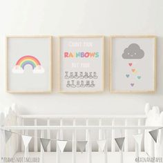 Set of 3, Rainbow Nursery Decor, Kids Prints, Grey Wall Art, Baby Gift, Count Your Rainbows, Cute Print, Nursery Art, Print Set, A5, A4, A3