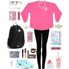 Ootd by preppypaiton on Polyvore featuring Lilly Pulitzer, Topshop, NIKE, The North Face, MICHAEL Michael Kors, Henri Bendel, Oliver Peoples, Laura Mercier, Maybelline and NARS Cosmetics