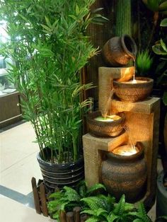 If you love the sound of water and want to get an inexpensive water feature for your home or garden, try one of these Relaxing Indoor Water Fountain Ideas. Water Garden Plants, Indoor Water Garden, Small Balcony Garden, Garden Water Fountains, Small Fountains, Indoor Plants, Indoor Outdoor, Tabletop Fountain, Indoor Fountain