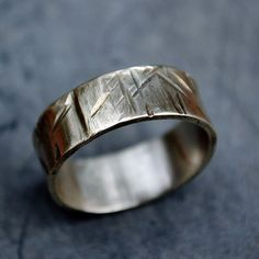 Textured sterling Silver Ring for Men / Women, Distressed Silver Jewelry, Scratches & Grooves, Everyday Casual Jewelry