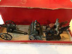 B501/ Lineol Pferdegespann Protze Kanone 1 WK von ca. 1915 im Originalkarton | eBay