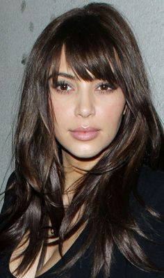 Celebrity of the week : Kim Kardashian without Makeup | Fringe Hairstyle | Clip on Fringe Extensions | Click on photo to find more hairstyles ..