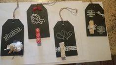 Tag in legno con vernice lavagna : portafoto o portamessaggi