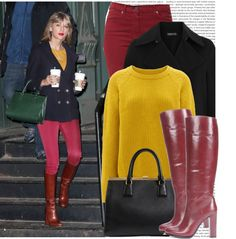 A fashion look from January 2015 featuring double-breasted wool coats, skinny fit jeans and leather sole boots. Browse and shop related looks. Taylor Swift Costume, Skinny Fit Jeans, Wool Coat, Fashion Looks, My Style, Polyvore, Prada, Sweaters, Eclectic Style