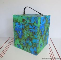 Vintage 1960s Square Wig Box Blue & Green Flower Power with Spike Large Size