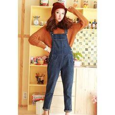 High-Waist Solid Color Retro Style Denim Women's Overalls, DEEP BLUE, L in Denim & Jeans | DressLily.com