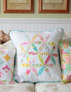Cathedral Windows pillow, flower pattern pillow, scrappy squares pillow... all in delightfully summer colors