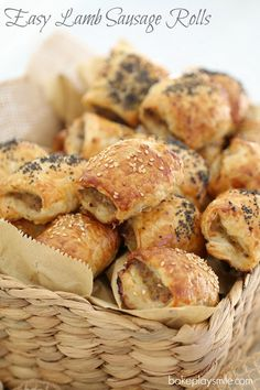 You can't go past these quick & easy lamb sausage rolls for a yummy snack or delicious lunch! Plan ahead by making a double batch and popping them into the freezer. Mince Recipes, Lamb Recipes, Baking Recipes, Baking Pies, Savoury Recipes, Pastry Recipes, Savory Snacks, Yummy Snacks, Yummy Food