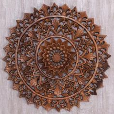 Circular Floral Wood Wall Relief Panel from Indonesia - Padma Parade Carved Wood Wall Art, Wood Wall Decor, Hand Carved, Wood Art, Buddhist Traditions, Buddha Sculpture, Buy Wood, Wood Wood, Get Well Gifts