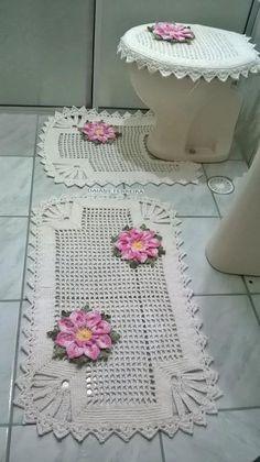 Jogo de banheiro em crochê Quatro peças Pode ser feito em todas as cores Barbante 6 Goiaba