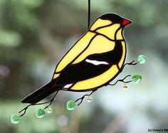 Goldfinch Stained Glass Suncatcher