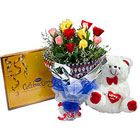 A cute gift combination of assorted chocolates, mixed Roses bouquet and a cute Teddy Bear.