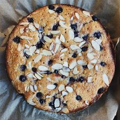 amour fou(d): coconut, almond, and blueberry cake.
