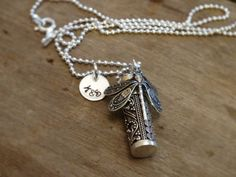 Sterling Silver Dragonfly Urn Pendant custom by WeatheredRaindrop