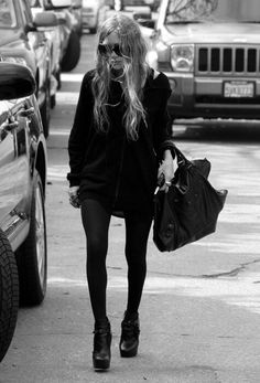 Mary Kate Olsen outfit - MKO street style look - Balenciaga bag, oversized sweater & ankle boots